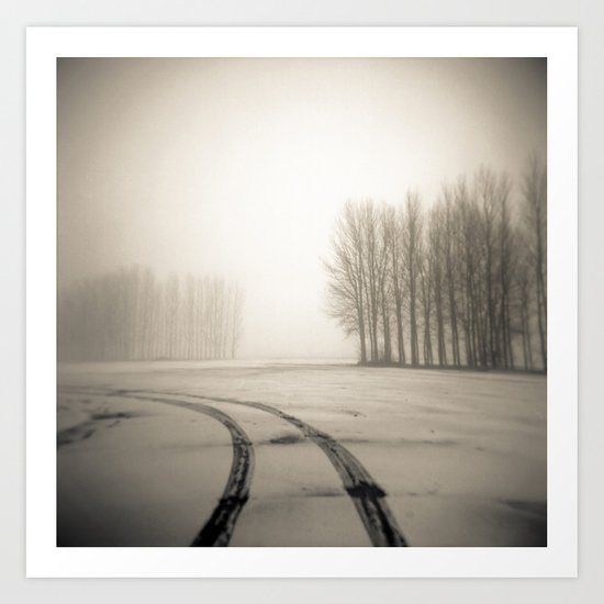 Tyre tracks in snow Art Print