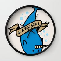 narwhal Wall Clocks featuring Narwhal by Katie Bell