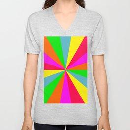 Neon Rainbow Burst Unisex V-Neck