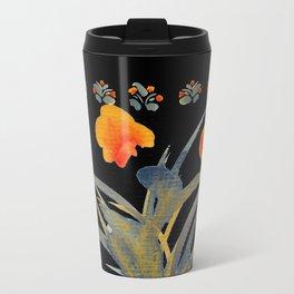 Atom Flowers #34 in orange and blue grey Travel Mug