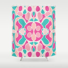 Girly Modern Pink Coral Teal Abstract Geometric Shower Curtain