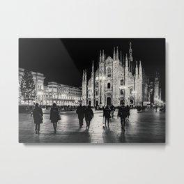 Black and White Duomo Piazza Night Scene, Milan City, Italy Metal Print