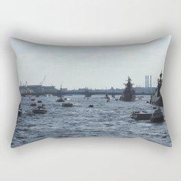 Huge water traffic on Neva River. Many passenger boats with Russian Navy Battleships and submarine. Rectangular Pillow