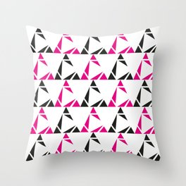 White Triangle Cuts Throw Pillow