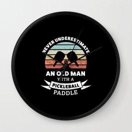 Funny Pickleball Paddle Gift for Grandpa Wall Clock