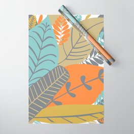 Bright Tropical Leaf Retro Mid Century Modern Wrapping Paper