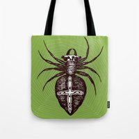 spider Tote Bags featuring Spider by Bwiselizzy