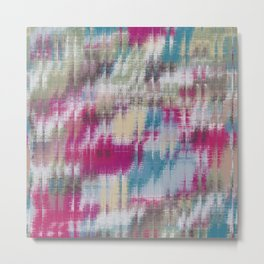 psychedelic geometric abstract pattern in pink blue brown Metal Print