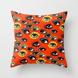 60s Eye Pattern Throw Pillow