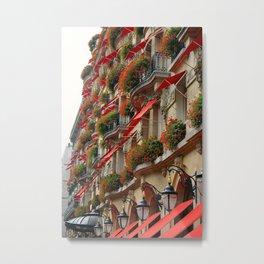 Plaza Athenée Red Geranium Façade Metal Print