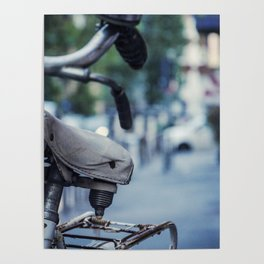 Old white bicycle in a little alley in the center of Milan Poster