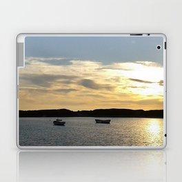 Sunset over Lancashire sea fishing boats  Laptop & iPad Skin