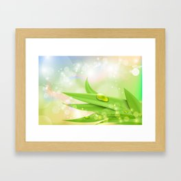pastel colors with green grass and dew Framed Art Print