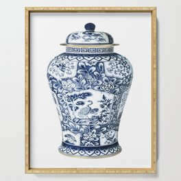 Blue & White Chinoiserie Cranes Porcelain Ginger Jar Serving Tray