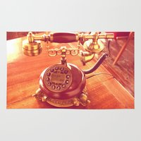 telephone Area & Throw Rugs featuring old telephone by gzm_guvenc