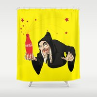 coca cola Shower Curtains featuring Toxi Cola  by Tony Vazquez