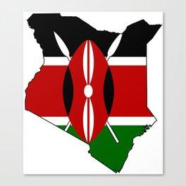 Kenya Map with Kenyan Flag Canvas Print