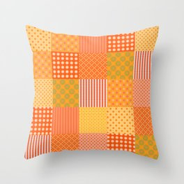 Patchwork Quilt in Orange and Yellow Throw Pillow