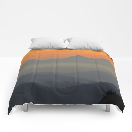 """Sunset at the mountains II"" Comforters"