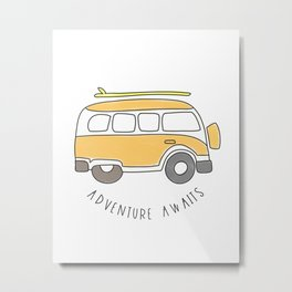 The Surf Life | Yellow Adventure Bus Metal Print