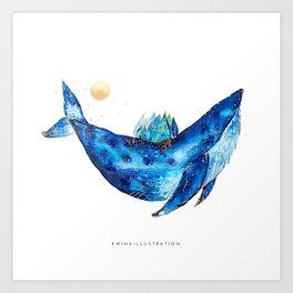 Whale of the sky Art Print