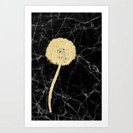 Golden Dandelion on Black Marble Art Print