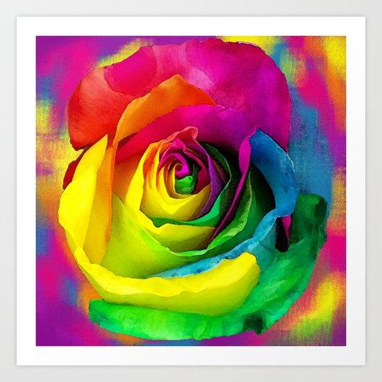Rainbow Rose Colourful Background Art Print