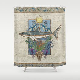 Great White Guardian - Minoan Fresco Shower Curtain