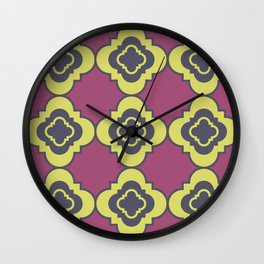 Quatrefoil - mauve, blue and yellow Wall Clock