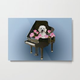 Piano with Poodle Dog and Lotus Flower Metal Print