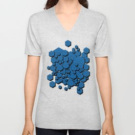 3D Cobalt blue Cubes Unisex V-Neck