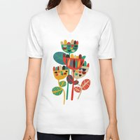 flowers V-neck T-shirts featuring Wild Flowers by Picomodi