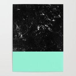 Mint Meets Black Marble #1 #decor #art #society6 Poster