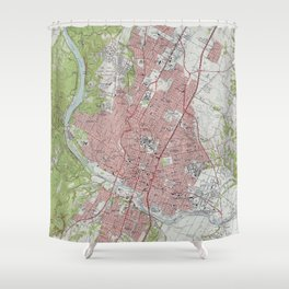 Vintage Map of Austin Texas (1955) Shower Curtain