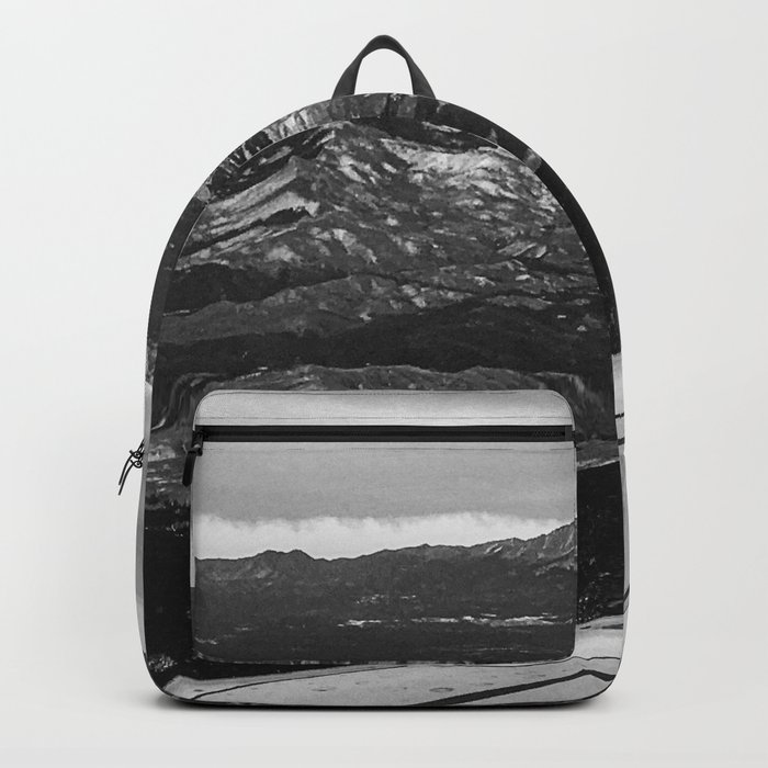 5280 Snowcap // Grainy Black & White Airplane Wing Landscape Photography of Colorado Rocky Mountains Rucksack