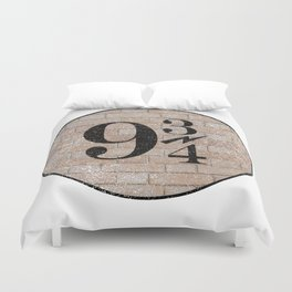 9 3/4 Nine and three-quarters platform King's Cross station london harry Duvet Cover