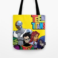 teen titans Tote Bags featuring Teen Titans by Paige Thulin