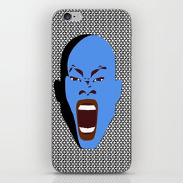 blue man screaming face rudeink art work iPhone Skin