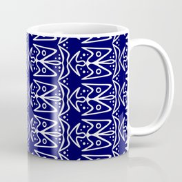 Bluebirds in Flight Bright White Wings on Midnight Blue Stylized Abstract Spirit Organic Coffee Mug
