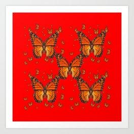 ORANGE MONARCH BUTTERFLIES RED MODERN ART MONTAGE Art Print