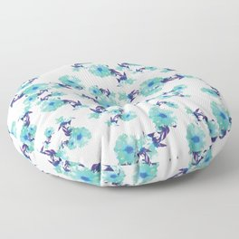 Floral Afternoon Blues Floor Pillow