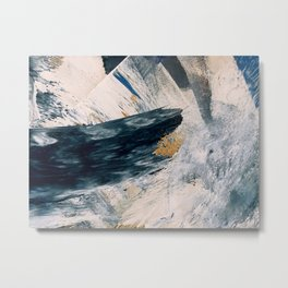 Harbor: a minimal, blue and gold abstract piece Metal Print