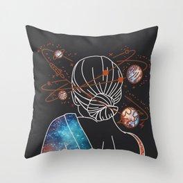 Head Space - Black - Fashion Illustration Print - Fashion Illustration - Fashion Digital Prints Throw Pillow