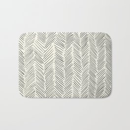 Herringbone Black on Cream Bath Mat