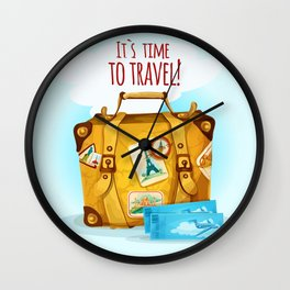 Travel Concept With Suitcase Wall Clock