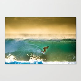 Ricardo Dos Santos, Sunset surfing on North Shore Hawaii  Canvas Print
