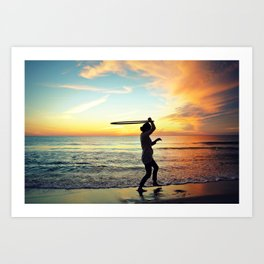 Sunset Hula Hooper Art Print