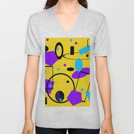 Retro abstract print yellow Unisex V-Neck