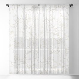 Elegant white gold glam orchid flowers pattern Sheer Curtain