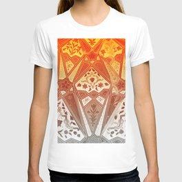 indian wall Painting Mosaic Flowers - orange T-shirt